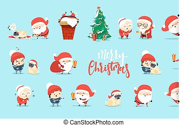 Santa Claus Funny Christmas characters in flat style.