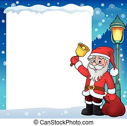 Santa Claus with bell theme frame 2