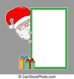Santa Claus with blank frame. isolated vector