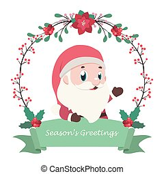 Santa Claus with decorative frame and banner