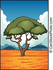 Cartoon savanna landscape. Vector clip art illustration with simple gradients. Some elements on separate layer.