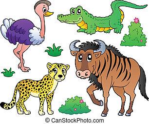 Savannah animals collection 2 - vector illustration.