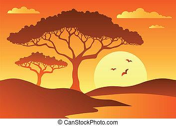 Savannah scenery with trees 1
