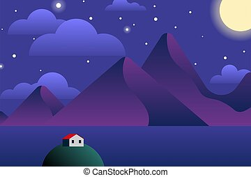 Scandinavian landscape background in minimalist style with sea, sky, mountains and a red roof house on the isle at night
