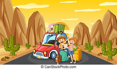 Scene with tourist driving on the road at sunset