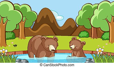 Scene with two bears in the forest