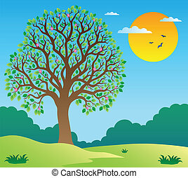 Scenery with leafy tree 1