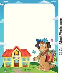 School dog theme frame 1
