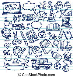 Set of vector freehand drawings of school icons on lined paper background.