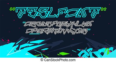 Sci-fi Cyberpunk Graffiti Style Abstract Technology Futuristic Alphabet Font TeslFont Digital Typography Vector Illustration