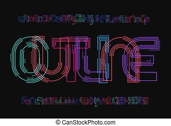 Sci-fi uppercase and lowercase letters set. Rave style alphabet. Outline typeface design for futuristic typographic poster, cyberpunk ads, logo, modern digital interface and motion graphic.Vector font