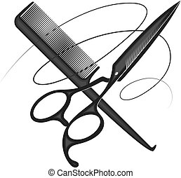 Scissors comb and curl hair