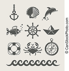 sea and marine symbol set of icon vector illustration isolated
