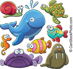cartoon illustration of various sea animals collection