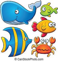 cartoon illustration of sea fish collection
