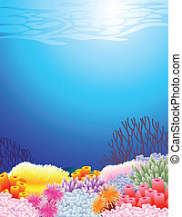 Vector illustration of sea life background