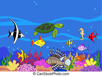 Vector beautiful sea life