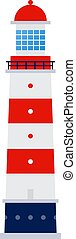 Sea lighthouse vector icon flat isolated