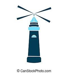 Sea lighthouse vector icon isolated. Marine navigation.