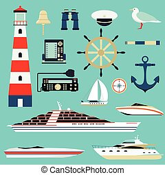 Nautical and marine icons, design element sea symbols.