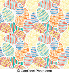 Seamles vector easter pattern with decorated egg stickers