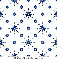Seamless abstract tiled pattern vector blue and white