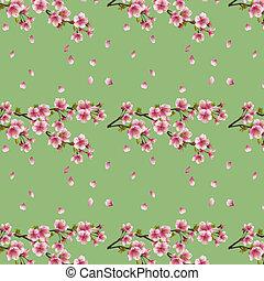 Seamless background with cherry tree sakura blossom