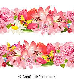 Seamless border of beauty flowers. Set