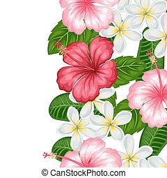 Seamless border with tropical flowers hibiscus and plumeria. Background made without clipping mask. Easy to use for backdrop, textile, wrapping paper