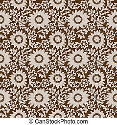 Seamless brown floral wallpaper