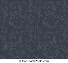 Seamless dark grey floral pattern