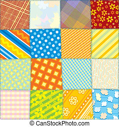 Seamless Quilt Fabric Texture. Motley Colorful Pattern for your Design