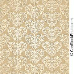 Seamless floral gold heart shapes damask wallpaper