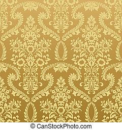 Seamless floral vintage gold wallpaper