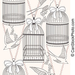 Seamless pattern with birdcages, flowers and birds. Floral and swallow background.