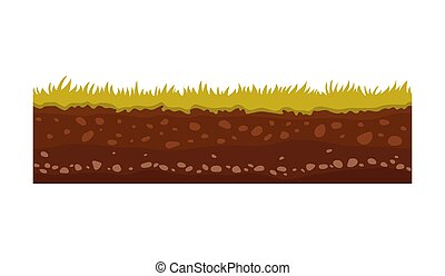 Seamless ground, soil and land vector image for UI games. Surface of ground, stone grass illustration