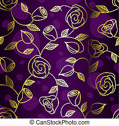 Seamless hand drawn gold filigree with roses