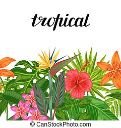 Seamless horizontal border with tropical plants, leaves and flowers. Background made without clipping mask. Easy to use for backdrop, textile, wrapping paper