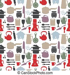 seamless kitchen pattern, vector ill
