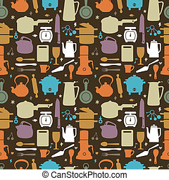 seamless kitchen pattern, vector illustration