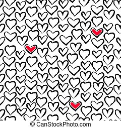Seamless modern pattern with heart. Print for design, fabric and wrapping paper.