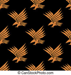 Seamless pattern of a stylized flying eagle