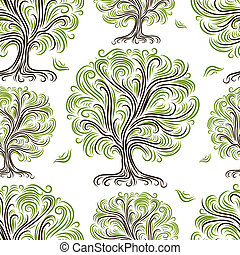 Seamless pattern with art trees for your design