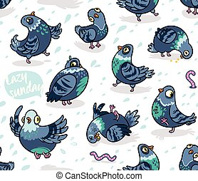 Seamless pattern with cartoon pigeons. Design for wrapping paper, fabric, textile, wallpaper, apparel