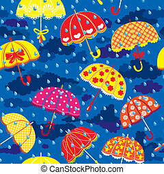 seamless pattern with colorful umbrellas, clouds and rain drops on blue sky background.