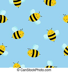 Seamless pattern with cute bees for design fabric, backgrounds, package, wrapping paper, covers, fashion