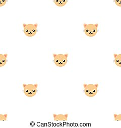 Seamless pattern with cute cat. Vector illustration for design, web, wrapping paper, fabric, wallpaper.