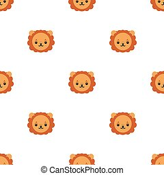 Seamless pattern with cute lion. Vector illustration for design, web, wrapping paper, fabric, wallpaper.