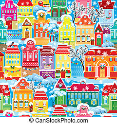 Seamless pattern with decorative colorful houses in winter time. Christmas and New Year holidays City endless background.
