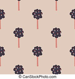 Seamless pattern with fruit trees. Design for fabric, textile print, wrapping paper,